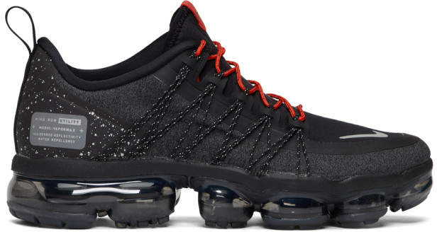 Nike Black and Red Air VaporMax Run Utility Sneakers