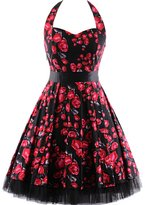 OTEN Women's Floral Vintage 1950s Halter Rockabilly Gown Cocktail Party Dress