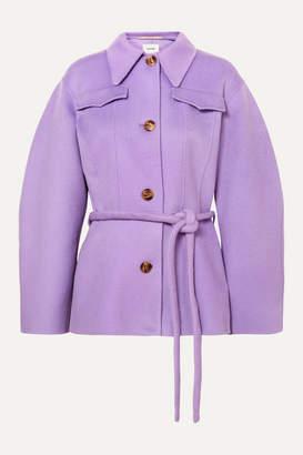 Nanushka Adut Belted Wool And Silk-blend Jacket - Lilac