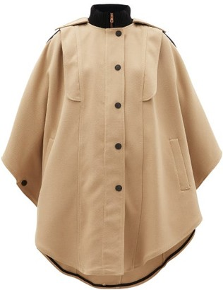 See by Chloe Ribbed-collar Cotton-blend Cape Coat - Womens - Beige