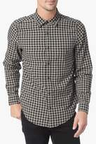 7 For All Mankind Long Sleeve Double Face Gingham Shirt In Black And Tan