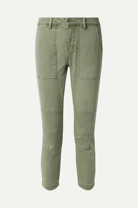 Current/Elliott The Weslan Lace-up Cotton-blend Twill Slim-leg Pants - Army green