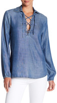 Frame Lace-Up Chambray Blouse