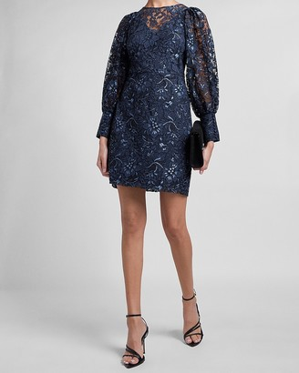 Express Floral Lace Balloon Sleeve Dress