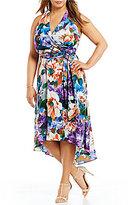 Leslie Fay Plus Floral Halter Hi-Low Dress