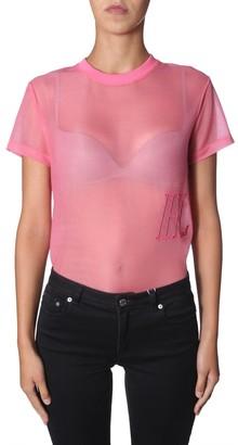 Helmut Lang Transparent Effect Logo Embroidered T-Shirt