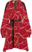 Balenciaga Hybrid Printed Silk-blend Crepe De Chine Dress - Red