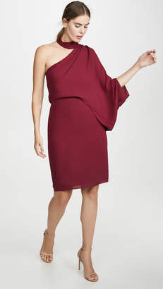 Halston Wrap Neck Asymmetrical Drape Dress