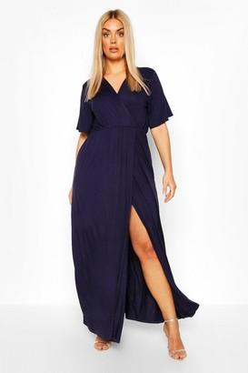 boohoo Plus Angel Sleeve Wrap Maxi Dress