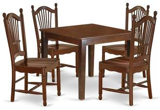 East West Furniture Oxdo5-Mah-W 5Pc Dinette Set Includes A Square 36 Inch Dining Table And 4 Wood Seat Kitchen Chairs, Mahogany Finish East West Furniture