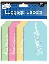 30 Assorted Colour Travel Luggage Labels Pastel Holiday Fly SuitcaseTags 135x75mm