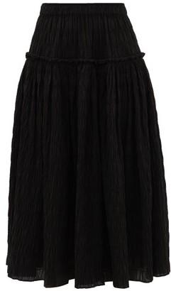 Mara Hoffman Alejandra Shirred Organic Cotton-blend Midi Skirt - Black