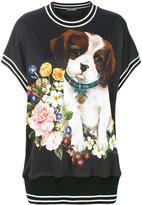 Dolce & Gabbana dog floral print T-shirt