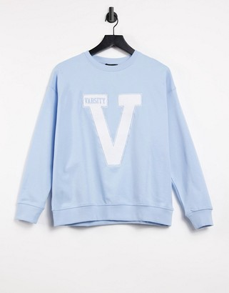 New Look oversized varsity sweatshirt in light blue