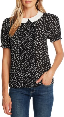 CeCe Ditsy Floral Print Pintuck Pleat Top