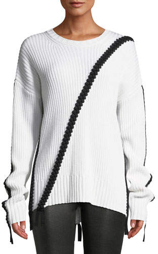 Derek Lam 10 Crosby Ribbed Wool Crewneck Sweater w/ Braided Detail