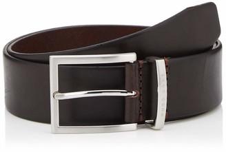 HUGO BOSS Mens Buddy Leather belt with branded metal keeper