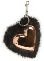 Stella McCartney Women's Faux Fur Heart Bag Charm - Black