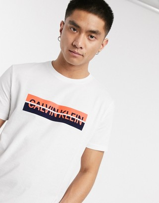 Calvin Klein Jeans split box logo t-shirt in white
