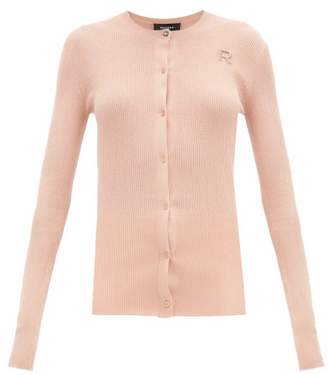 Rochas Logo-embroidered Ribbed-cotton Cardigan - Womens - Light Pink