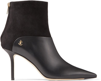 Jimmy Choo BEYLA 85 Black Calf Leather and Suede Ankle Booties with JC Button Detailing