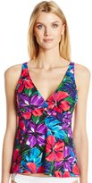 Caribbean Joe Women's Tropical Punch Surplice V-Neck Tankini