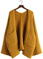 Futurino Women's Solid Slouchy Oversized Knit Open Front Cardigans Sweaters Coat
