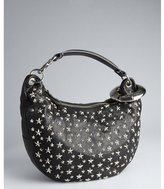 Jimmy Choo black leather star studded 'Solar' hobo shoulder bag