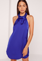 Missguided Silky High Neck Swing Dress Cobalt Blue