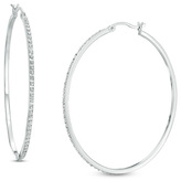 Zales Diamond FascinationTM Large Hoop Earrings in Sterling Silver with Platinum Plate