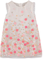 Mayoral Sleeveless Embroidered Floral Shift Dress, Coral/Pink, Size 3-7