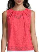 Liz Claiborne Sleeveless Burnout Shell Shirt - Tall