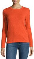 Neiman Marcus Cashmere Basic Pullover Sweater, Orange