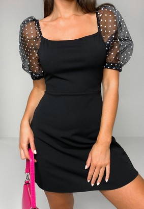 Missguided Black Polka Dot Organza Puff Sleeve Dress
