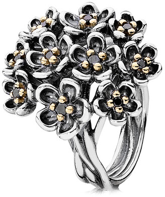 Pandora Forever Bloom 14K Yellow Gold & Silver Spinel Ring
