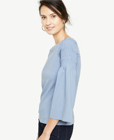 Ann Taylor Smocked Bell Sleeve Top