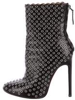 Alaia Grommet-Embellished Leather Ankle Boots