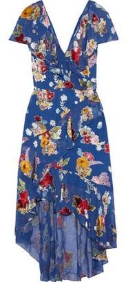Alice + Olivia Electra Asymmetric Floral-print Burnout Chiffon Dress