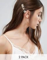 Orelia Taupe Double Hair Clips