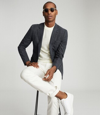 Reiss Seep - Slim Fit Basket Texture Blazer in Navy