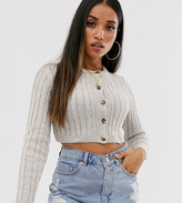 Asos DESIGN Petite super crop cable cardigan in recycled blend