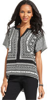 Style&Co. Top, Short-Sleeve Printed High-Low Tee
