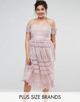 Chi Chi Plus Chi Chi London Plus Bardot Allover Lace Midi Dress