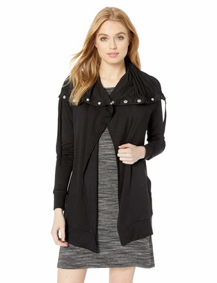 Kensie Women's Drapey French Terry Open Front Jacket