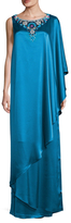 St. John Liquid Satin Asymmetric Hand Beaded Gown