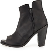 Rag and Bone Rag & Bone Noelle Peep-Toe Leather Ankle Boot, Black