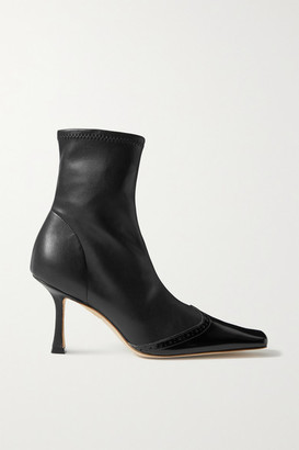 A.W.A.K.E. Mode Bernie Paneled Faux Leather Ankle Boots - Black
