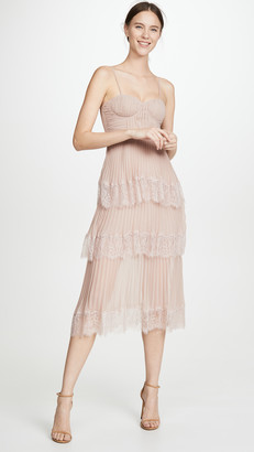 Self-Portrait Chiffon Lace Tiered Midi Dress