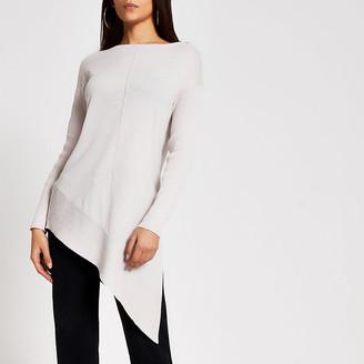 River Island Beige asymmetric long sleeve knitted jumper