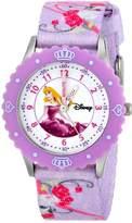 Disney Kids' W000366 Aurora Stainless Steel Time Teacher Purple Bezel Printed Strap Watch